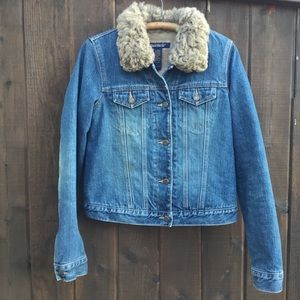 Abercrombie & Fitch lined jean coat faux fur trim